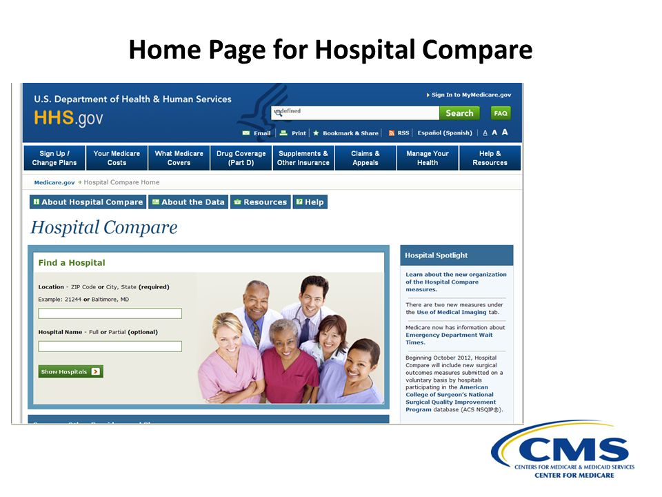 Home Page for Hospital Compare