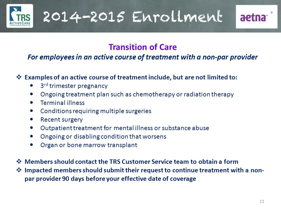 For employees in an active course of treatment with a non-par provider