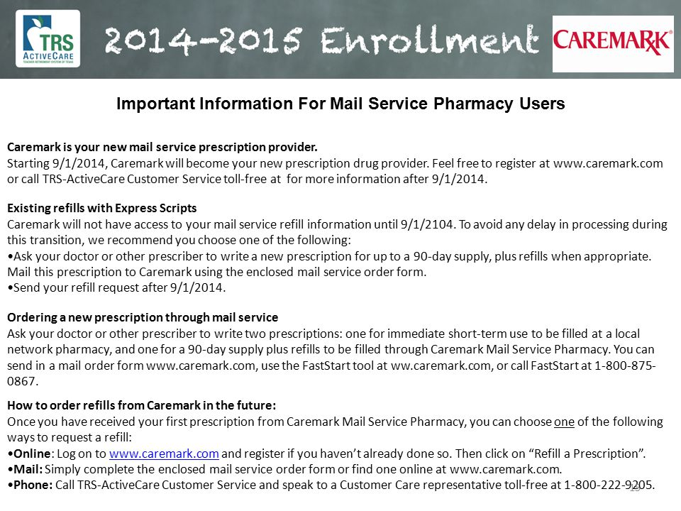 Important Information For Mail Service Pharmacy Users