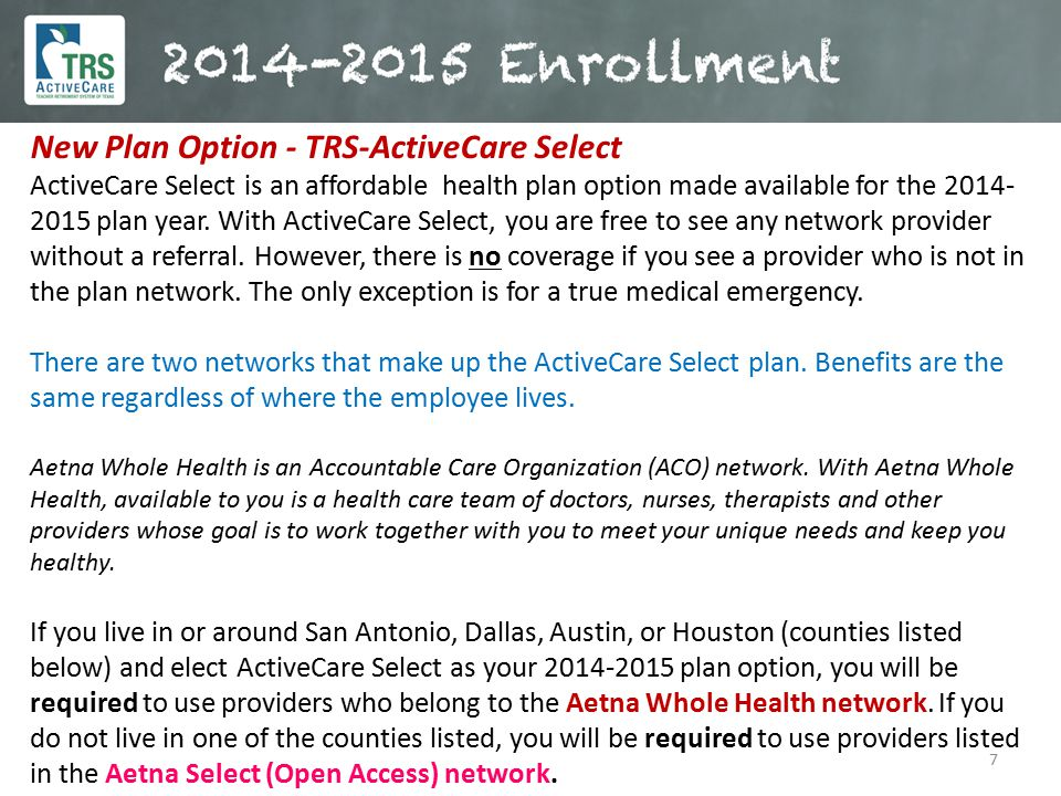 New Plan Option - TRS-ActiveCare Select