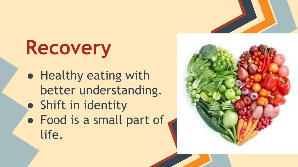 Recovery Healthy eating with better understanding. Shift in identity