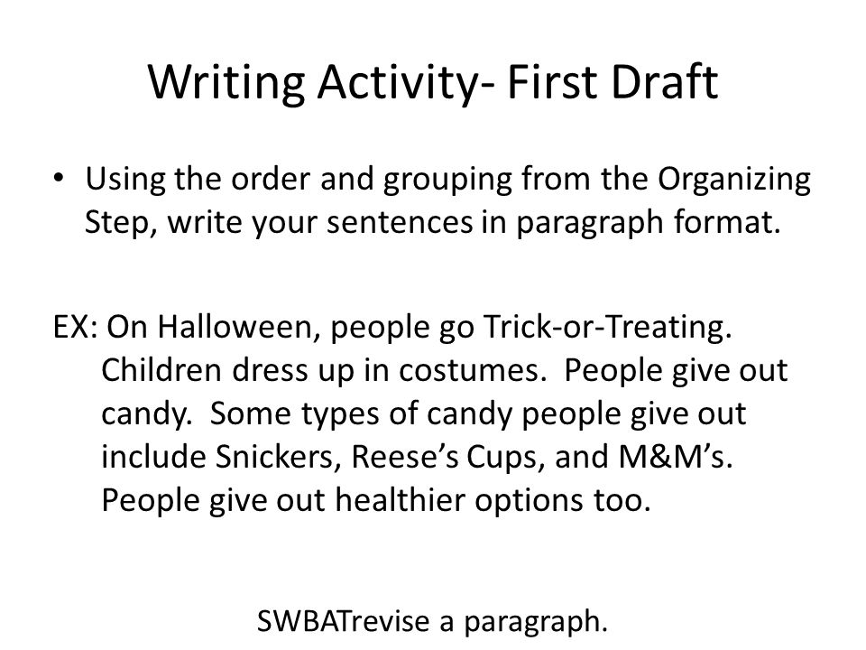 Writing Activity- First Draft
