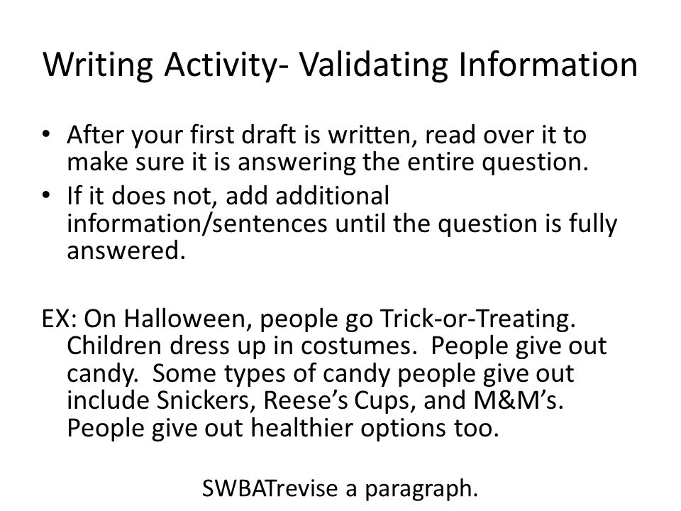 Writing Activity- Validating Information