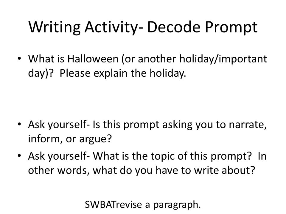 Writing Activity- Decode Prompt