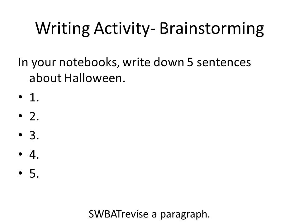 Writing Activity- Brainstorming
