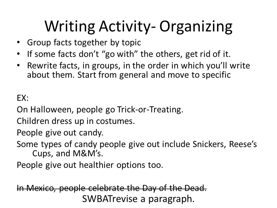Writing Activity- Organizing