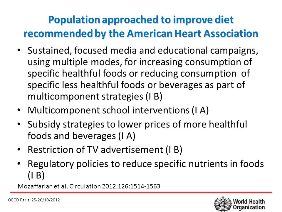 Population approached to improve diet recommended by the American Heart Association