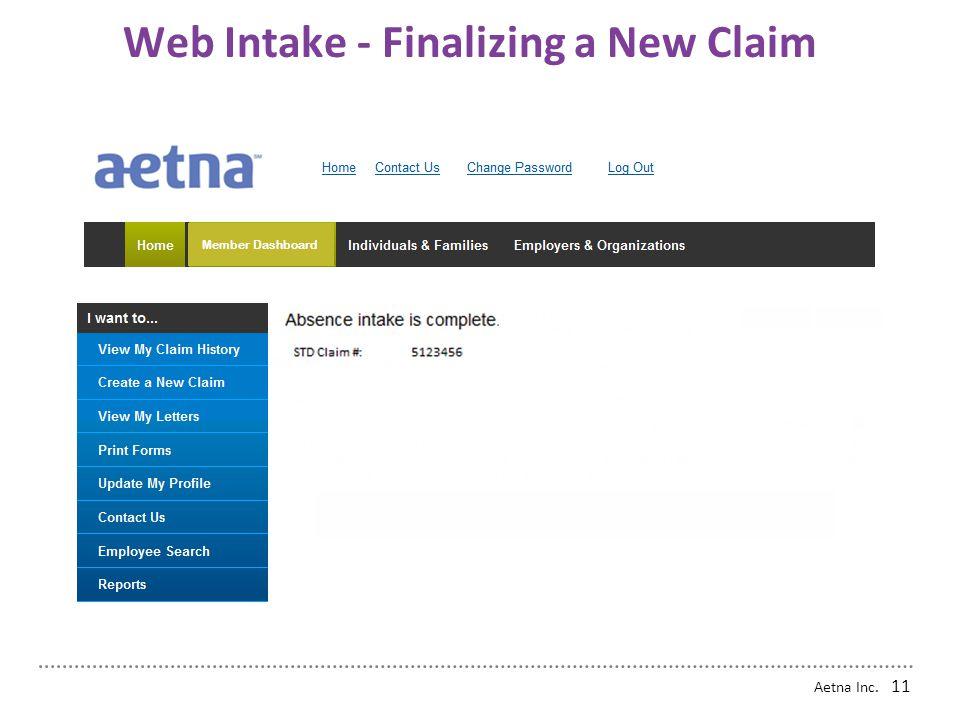 Web Intake - Finalizing a New Claim