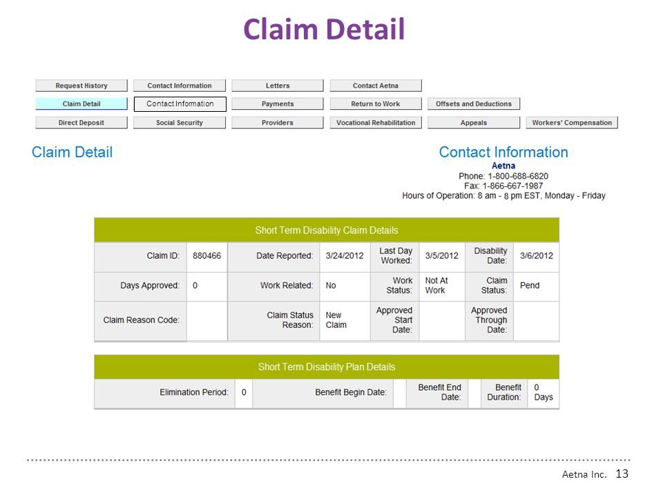 Claim Detail Contact Information