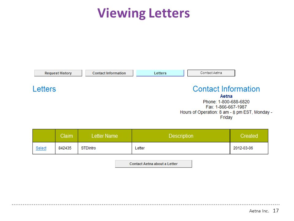 Viewing Letters Contact Aetna