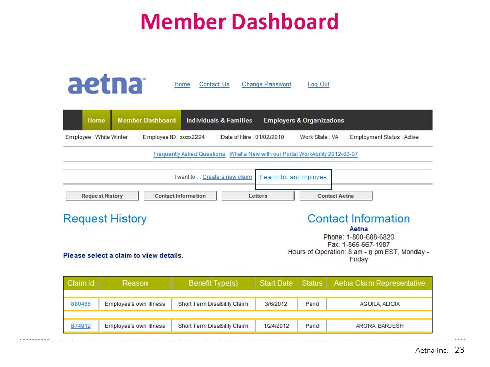Member Dashboard Search for an Employee