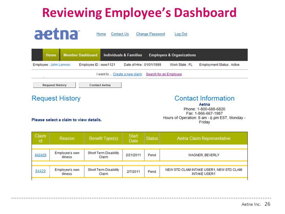 Reviewing Employee's Dashboard