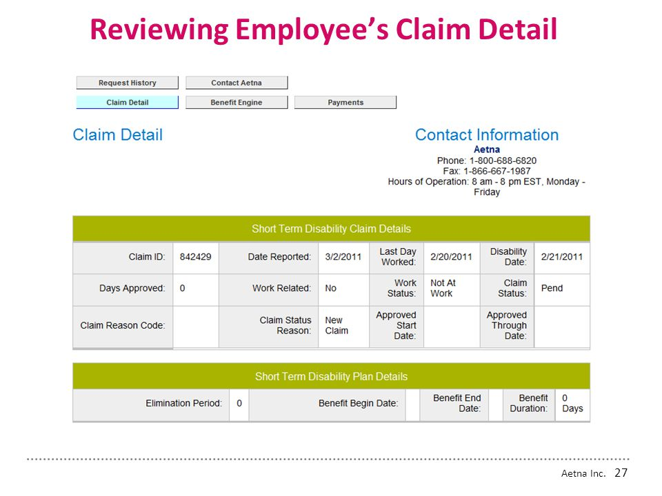 Reviewing Employee's Claim Detail