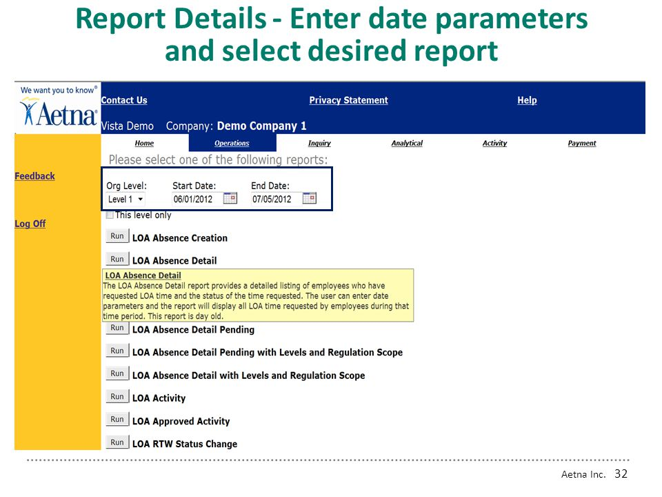 Report Details - Enter date parameters and select desired report