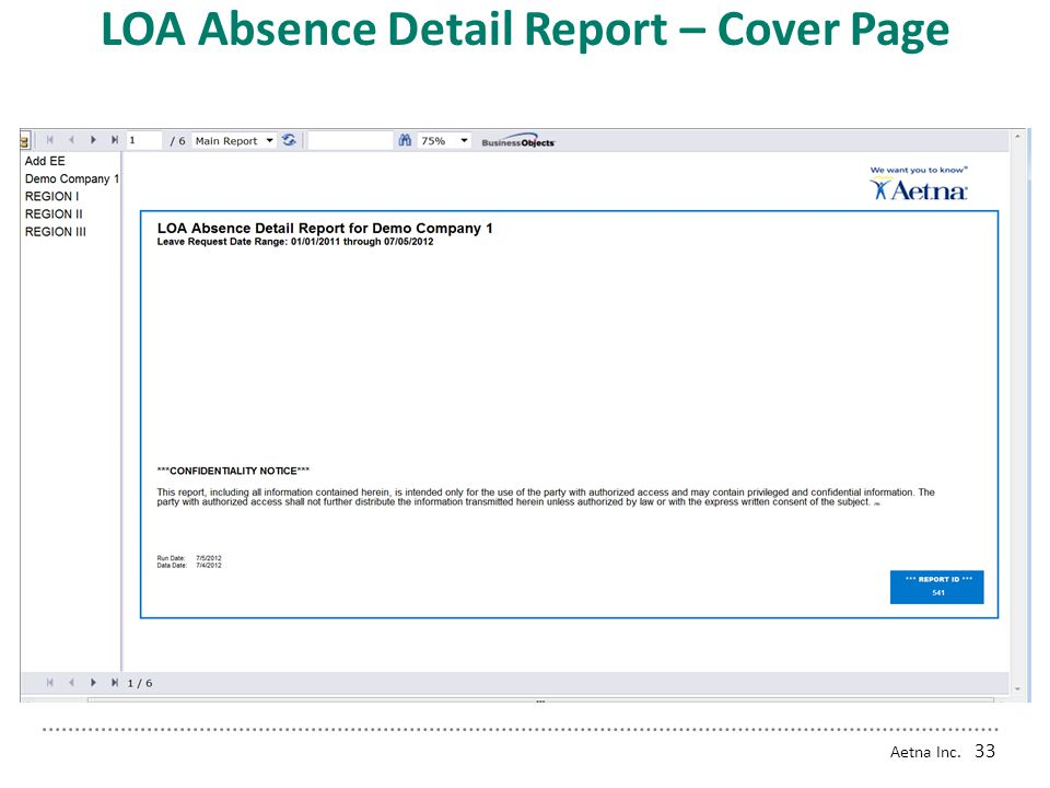 LOA Absence Detail Report – Cover Page