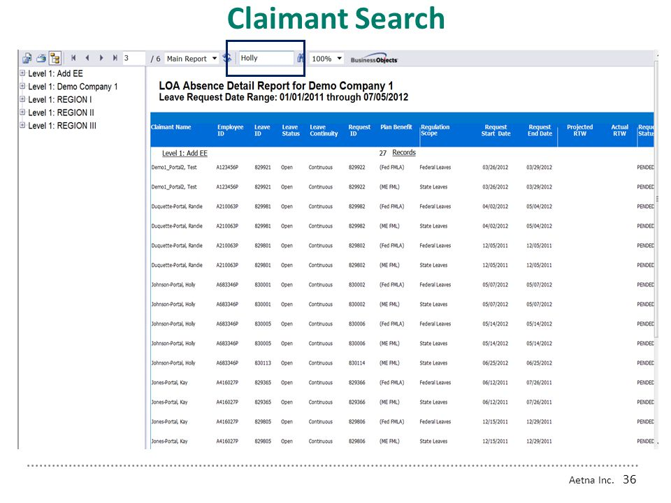 Claimant Search