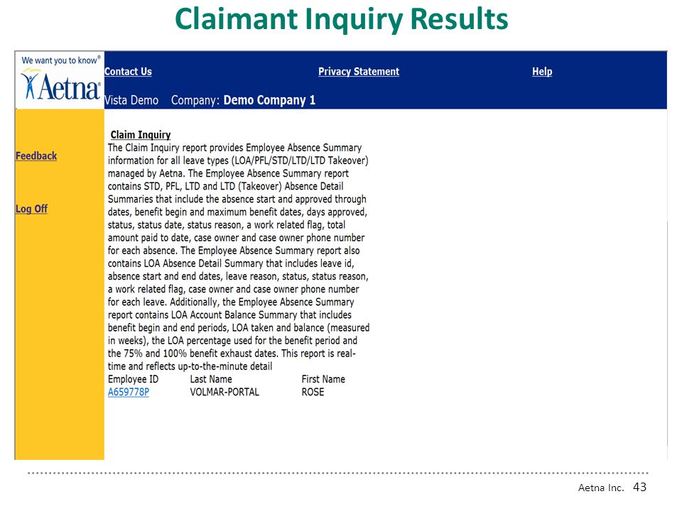 Claimant Inquiry Results