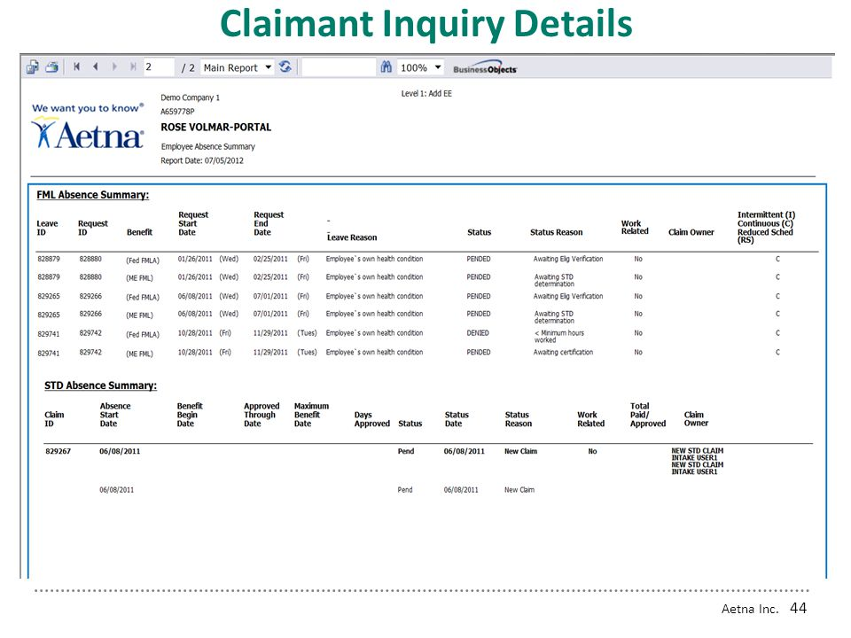 Claimant Inquiry Details