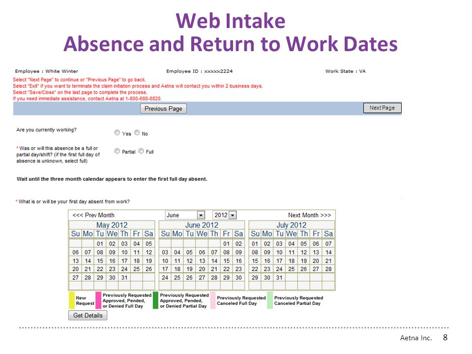Web Intake Absence and Return to Work Dates