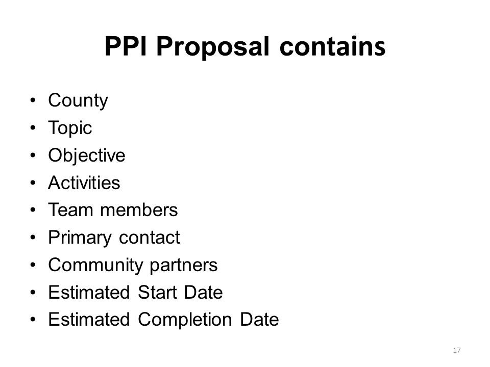 PPI Proposal contains County Topic Objective Activities Team members