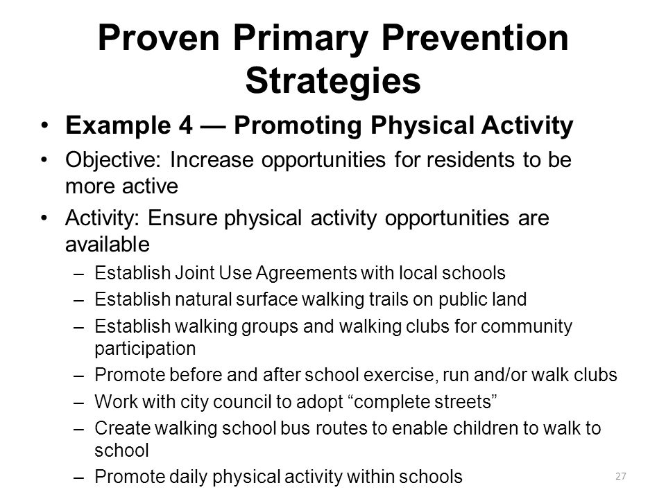 Proven Primary Prevention Strategies