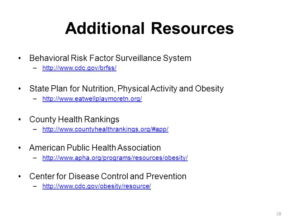 Additional Resources Behavioral Risk Factor Surveillance System