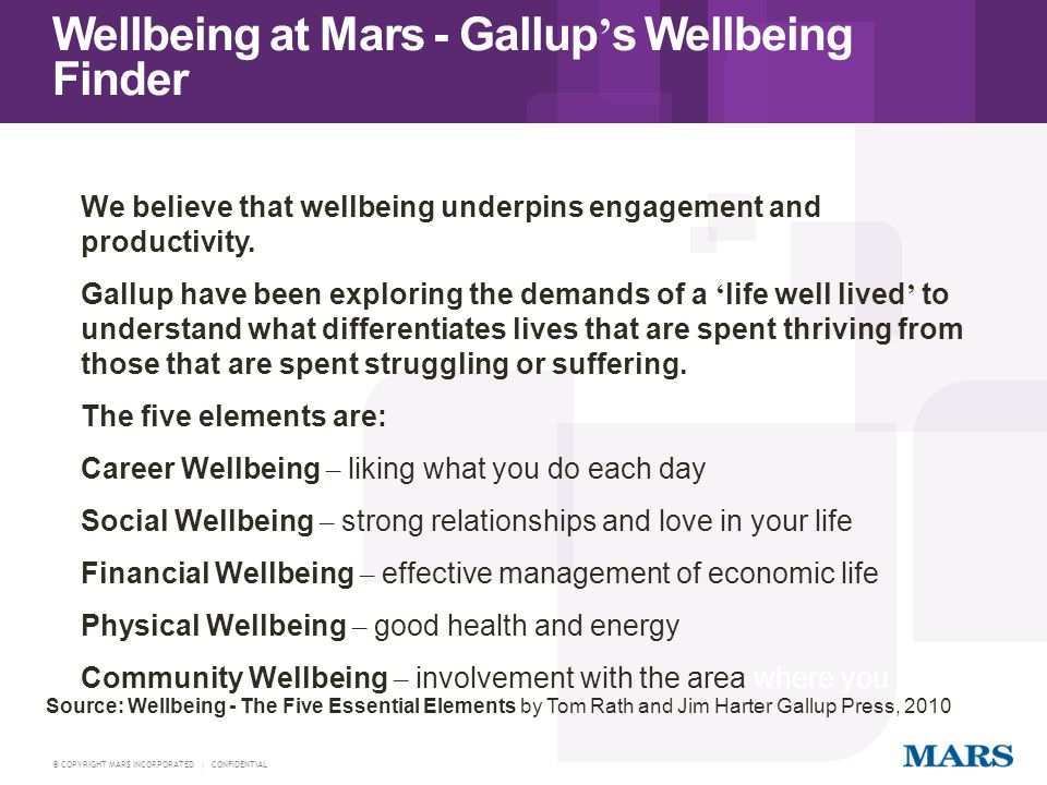 Wellbeing at Mars - Gallup's Wellbeing Finder