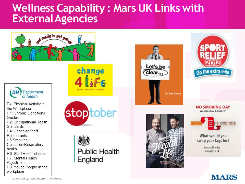 Wellness Capability : Mars UK Links with External Agencies