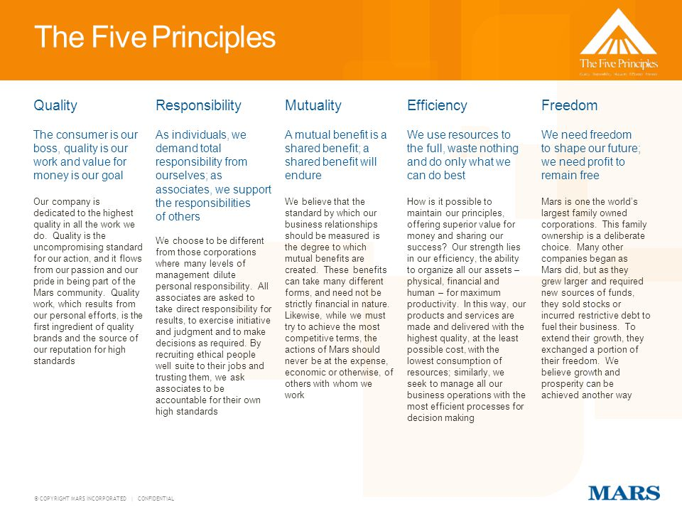 The Five Principles Quality Responsibility Mutuality Efficiency