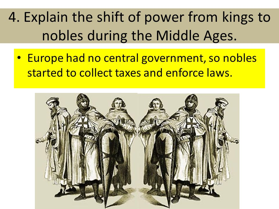 4. Explain the shift of power from kings to nobles during the Middle Ages.