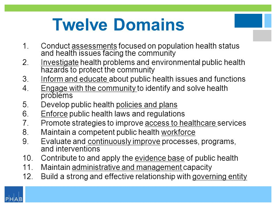 Twelve Domains Conduct assessments focused on population health status and health issues facing the community.