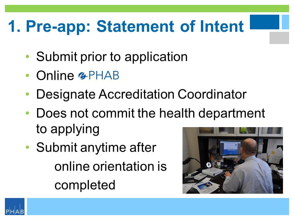 1. Pre-app: Statement of Intent