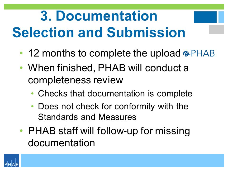 3. Documentation Selection and Submission