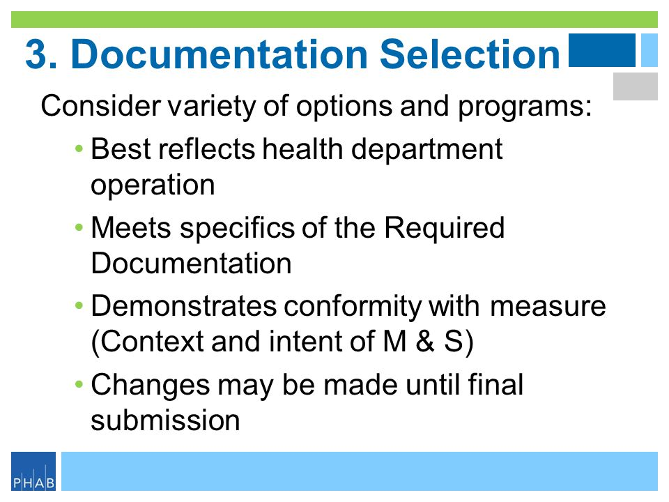 3. Documentation Selection