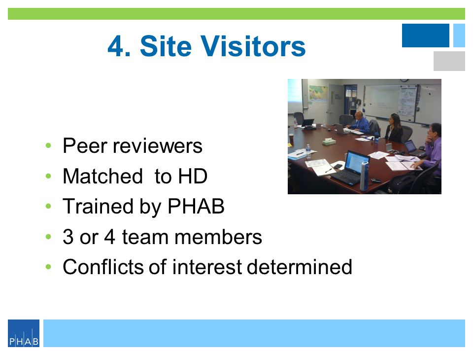 4. Site Visitors Peer reviewers Matched to HD Trained by PHAB