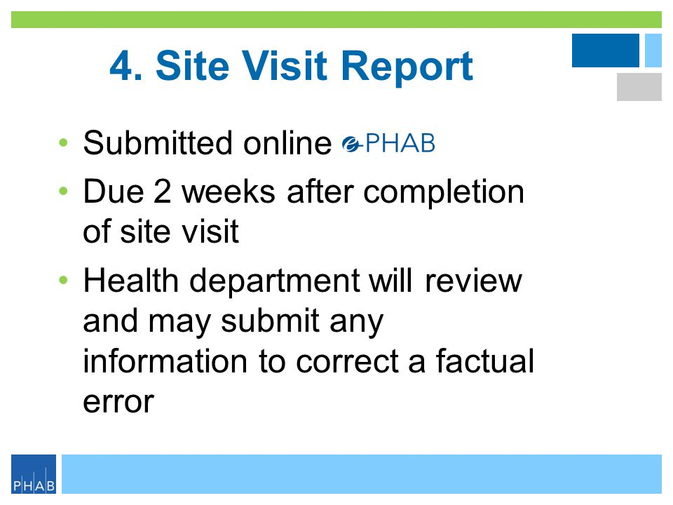 4. Site Visit Report Submitted online