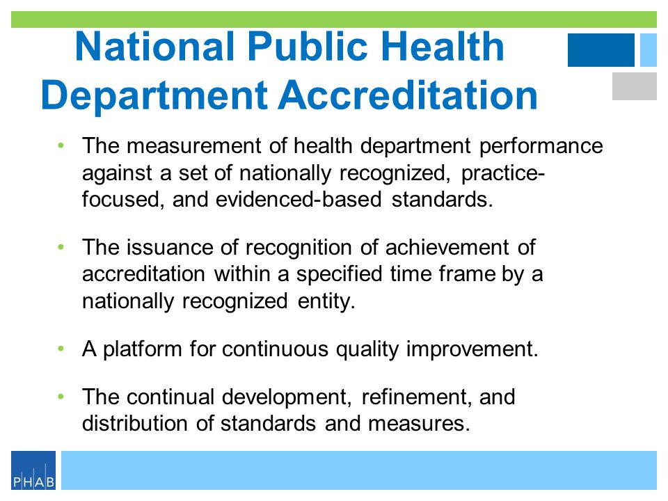 National Public Health Department Accreditation