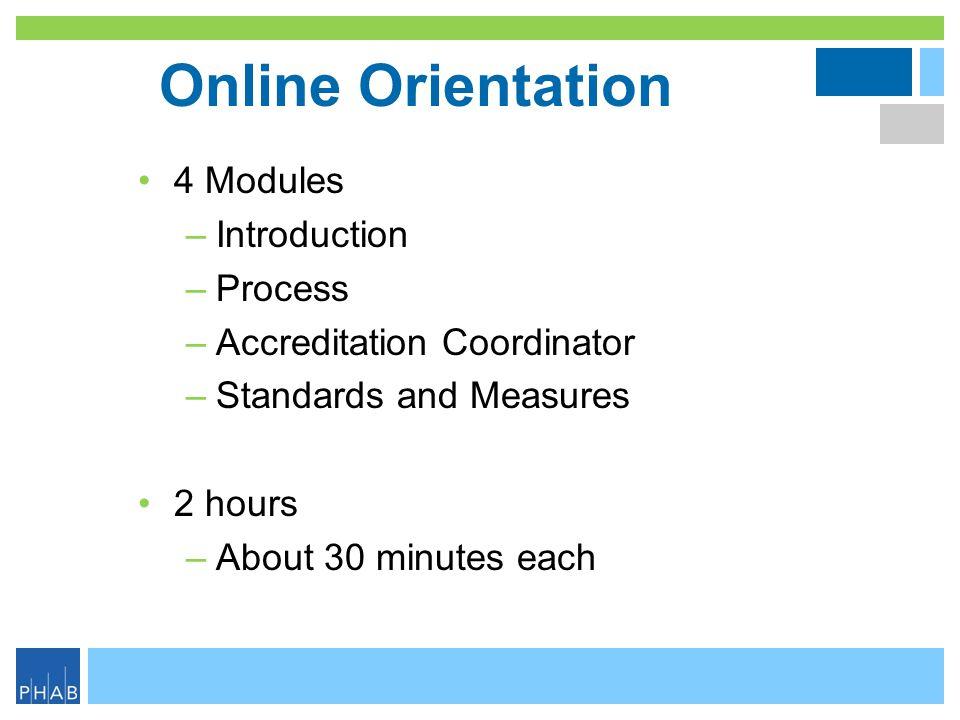 Online Orientation 4 Modules Introduction Process