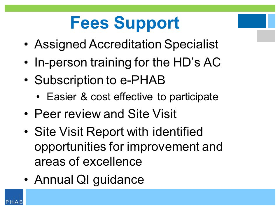 Fees Support Assigned Accreditation Specialist