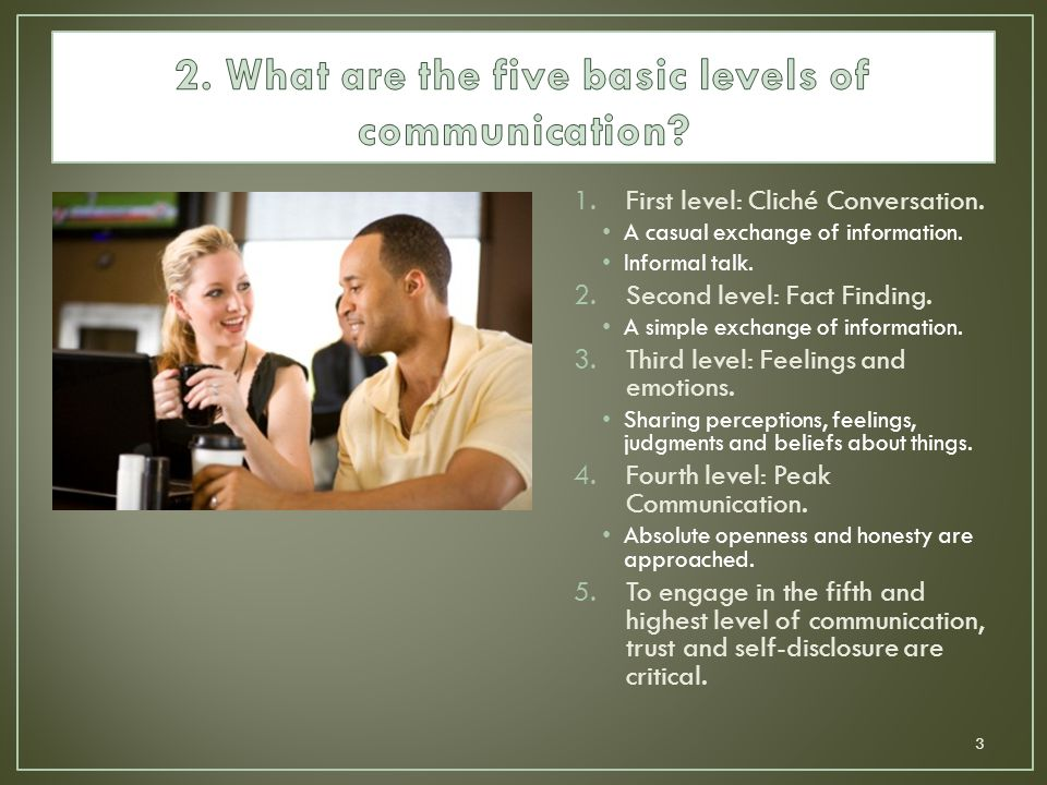 2. What are the five basic levels of communication