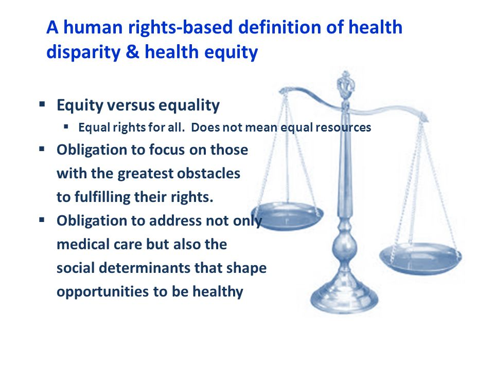 A human rights-based definition of health disparity & health equity