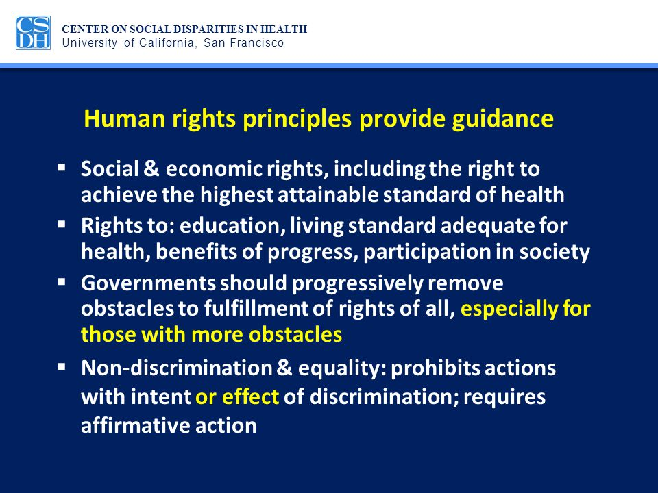 Human rights principles provide guidance