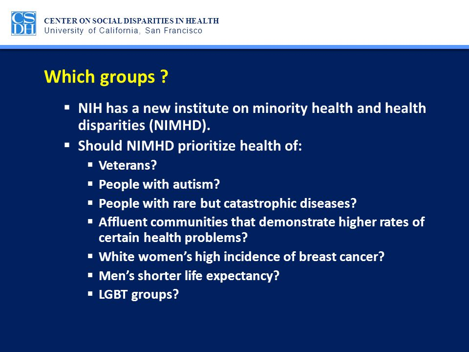 Which groups NIH has a new institute on minority health and health disparities (NIMHD). Should NIMHD prioritize health of: