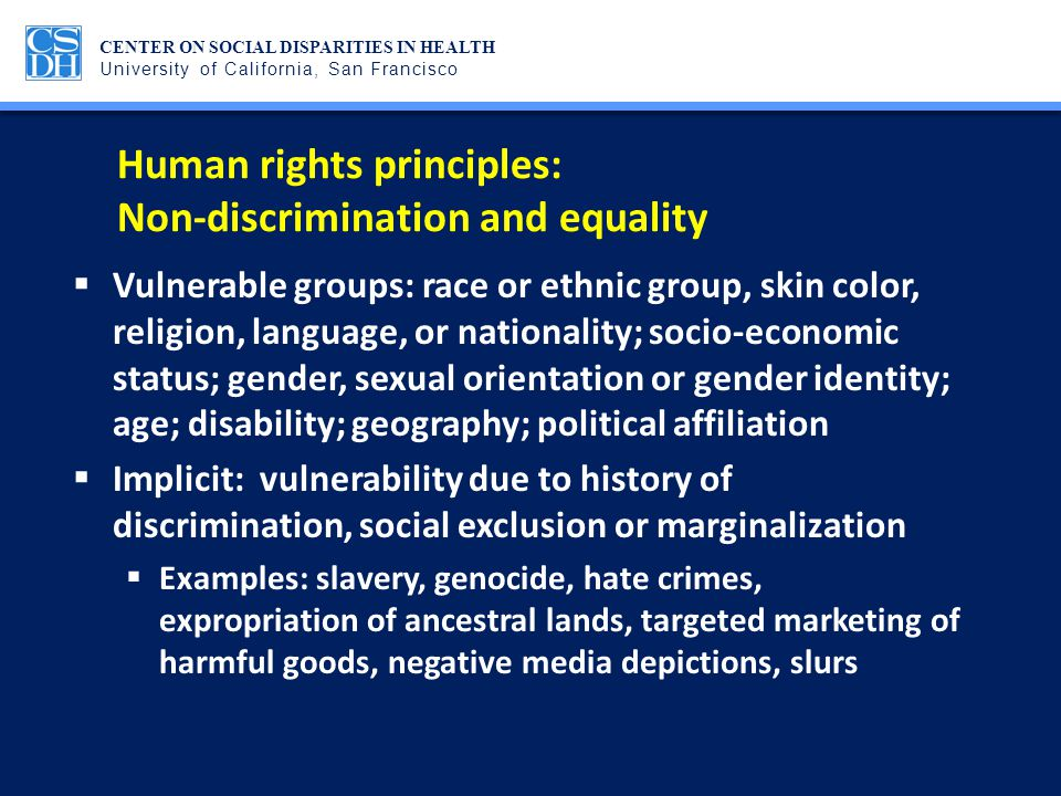 Human rights principles: Non-discrimination and equality