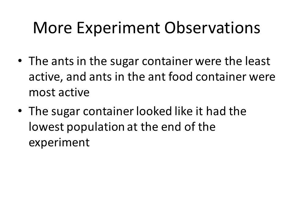 More Experiment Observations