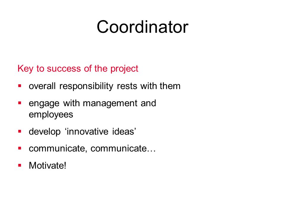 Coordinator Key to success of the project