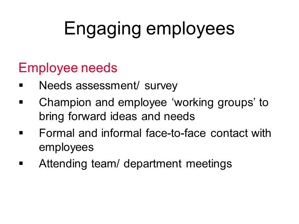 Engaging employees Employee needs Needs assessment/ survey