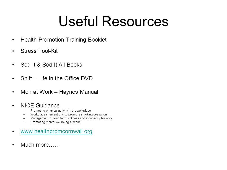 Useful Resources Health Promotion Training Booklet Stress Tool-Kit