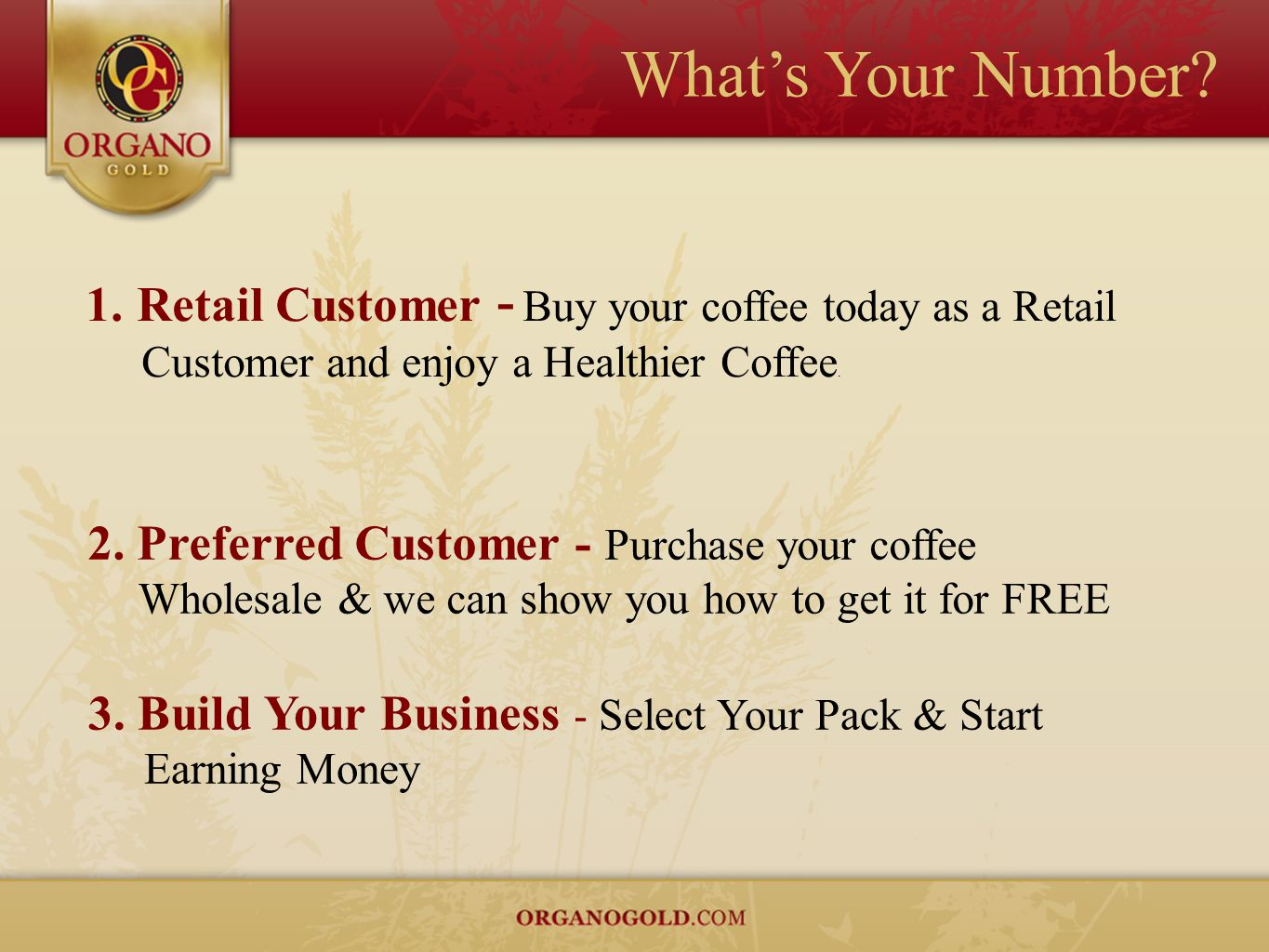 What's Your Number 1. Retail Customer - Buy your coffee today as a Retail Customer and enjoy a Healthier Coffee.
