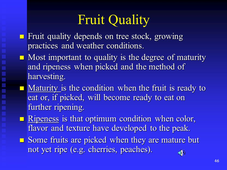 Fruit Quality Fruit quality depends on tree stock, growing practices and weather conditions.